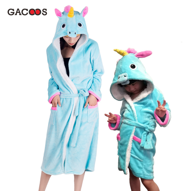 Kids Women Unicorn Robe For Girls Pajamas Animal Hooded Nightgown Adults Bathrobe Pikachu Panda Stitch Bath Robe Dressing Gown