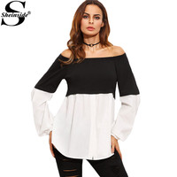Sheinside Color Block Off The Shoulder Long Sleeve Shirt Black and White Fashion Clothing Women Vogue Blouse