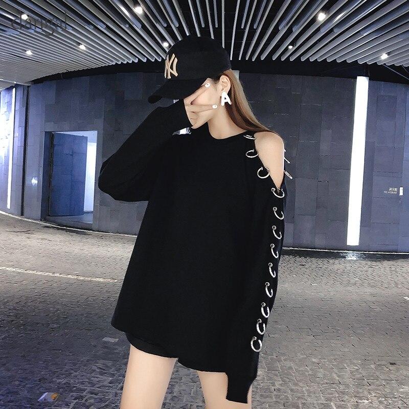 New Dangal Fashion Sexy Off the Shoulder Long Sleeve Women T-Shirt O-Neck Cute Button Cartoon Tops Long T-Shirts for Girl 2018