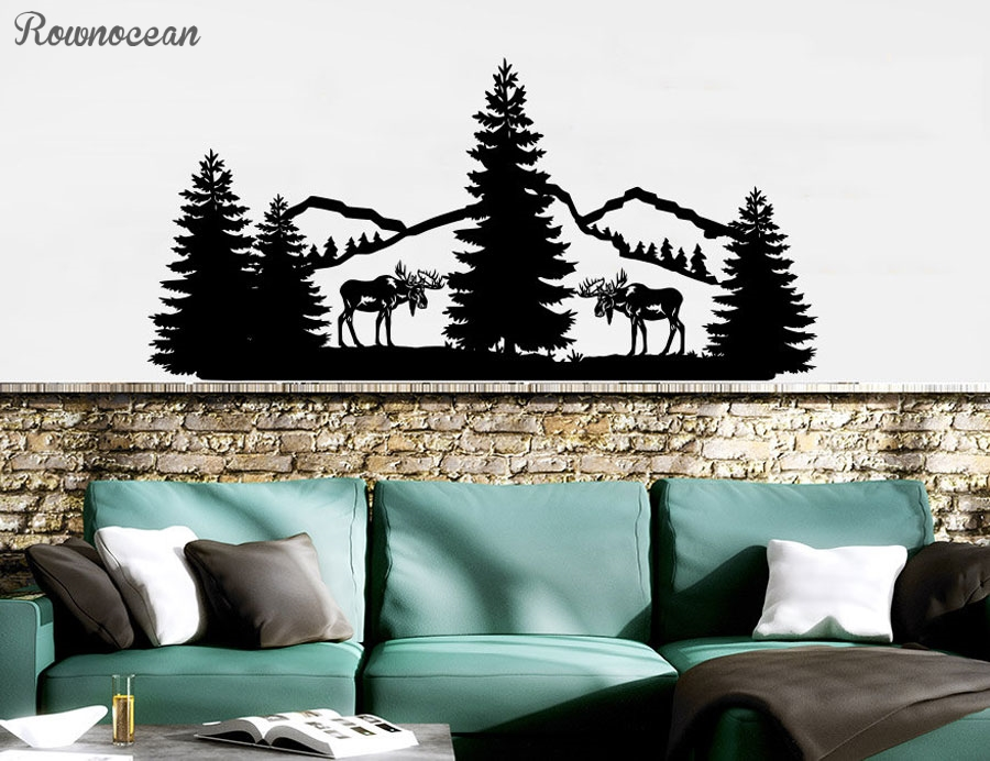 Forest Landscape Nature Pine Trees Wall Decal Vinyl Home Decor For Living Room Mountains Animals Elk Sticker Interior Mural LR54