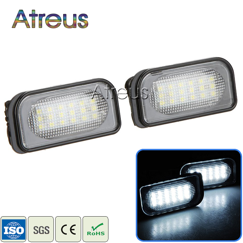 2Pcs Car LED License Plate Lights 12V SMD3528 LED Number Plate Lamp Bulb Kit For <font><b>Mercedes</b></font> W203 4D <font><b>C-Class</b></font> AMG <font><b>Benz</b></font> Accessories