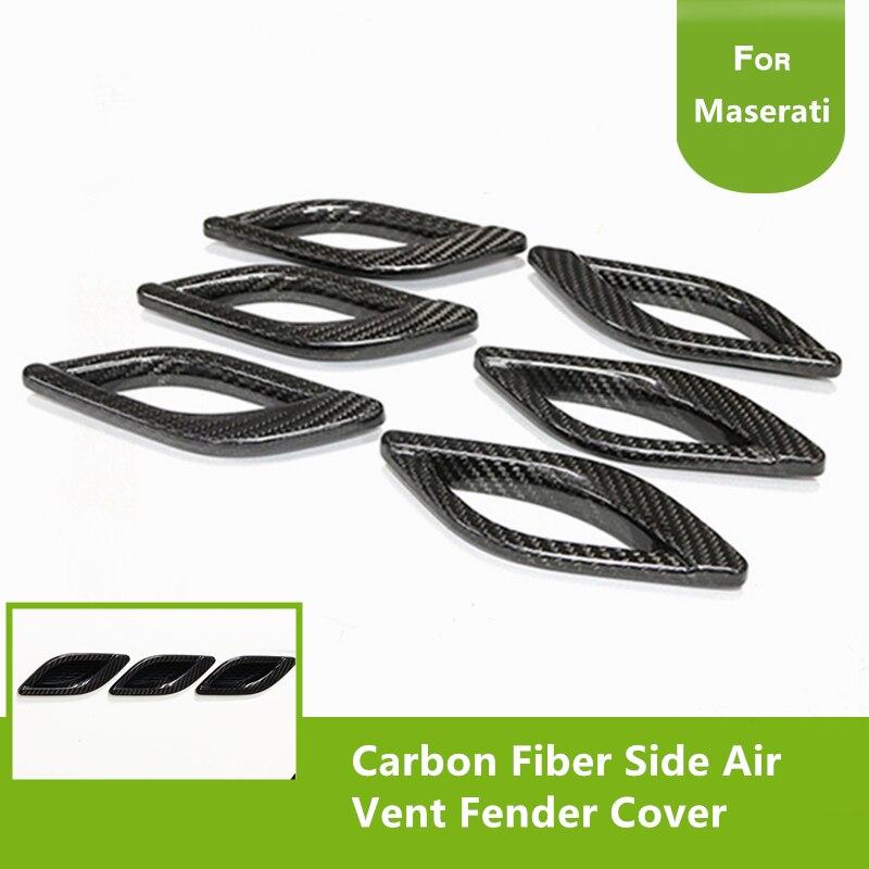 6PCS Carbon Fiber Side Air Vent Fender Cover Fit for Maserati Levante 2016 2017 Quattroporte 2013