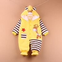 3 12M Cute Autumn Winter Cotton 100 Baby Romper Long Sleeve Coverall Hooded Infant Jumpsuit High