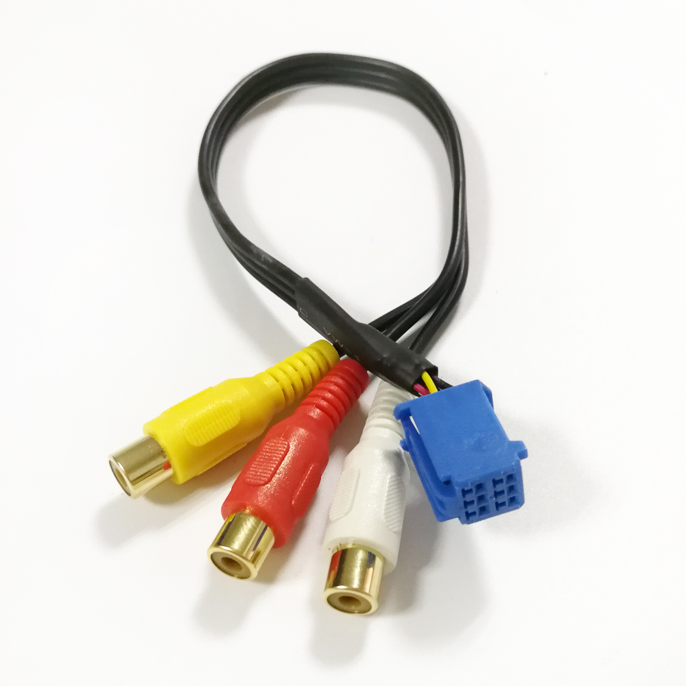 30CM RCA Female Audio/ Video AV-In Cable Wire For Toyota Headunit 6Pin Blue A/V Port 3040