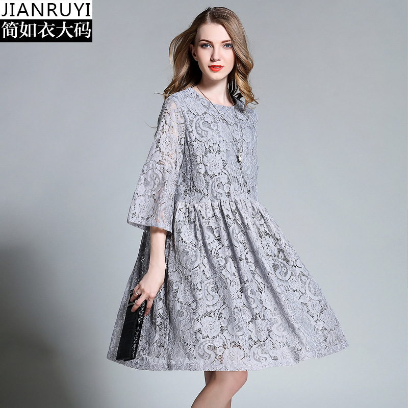 Women's Wear The New Summer 2017 Lace Dress Fat MM Bigger Sizes In Five Minutes Long Sleeve Pregnant Women Dress harriott ainsley ainsley harriott s low fat meals in minutes