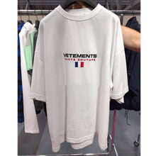 Embroidery Short Sleeve Vetements T Shirts Women Men 1:1 Best Quality France Flag Hiphop Top Tees Vetements T Shirt(China)