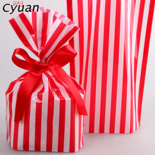 Cyuan 10Pcs Striped Pattern Candy Bags Event Party Supplies Gift Box Birthday Party Baby Shower Wedding Baking Cookies Pack Bag