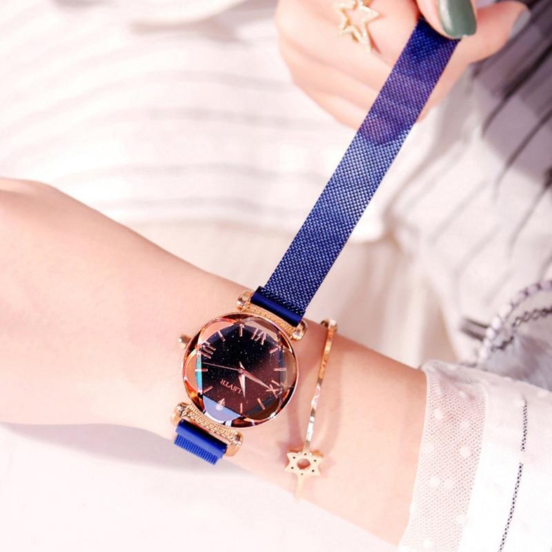 Luxury Women Watches Fashion Elegant Magnet Buckle Vibrato Purple Ladies Wristwatch 2019 New Starry Sky Roman Numeral Gift Clock 2