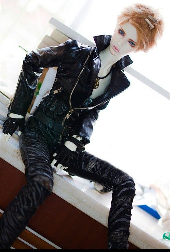 BJD doll coat black leather jacket Metal zipper super cool motorcycle leather coat for 1 4