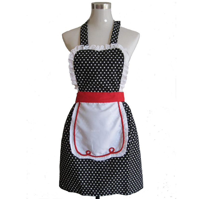 Fartuch kuchenny retro Kobieta Czarna kropka Moda Restauracja Bistro - Artykuły gospodarstwa domowego