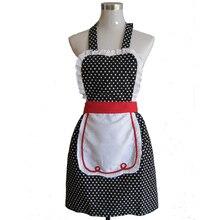 Retro Mulher Polka Dot Preto Moda Salão de Restaurante Bistro Avental de Cozinha Que Cozinha o Avental de Cozinha Avental Avental Divertido