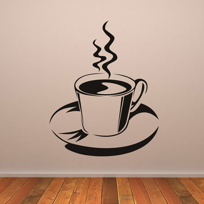 Steaming Coffee Wall Decorations Sticker Self Adhesive Hollow Out Removable Vinyl Wall Decal Home Decor
