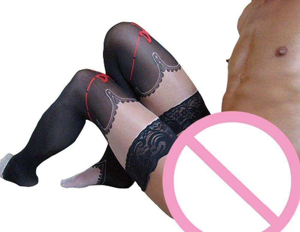 2017 New Men 's Sexy Socks Printed Men Stocking Transparent Breathable Sexy Lingerie Socks Men