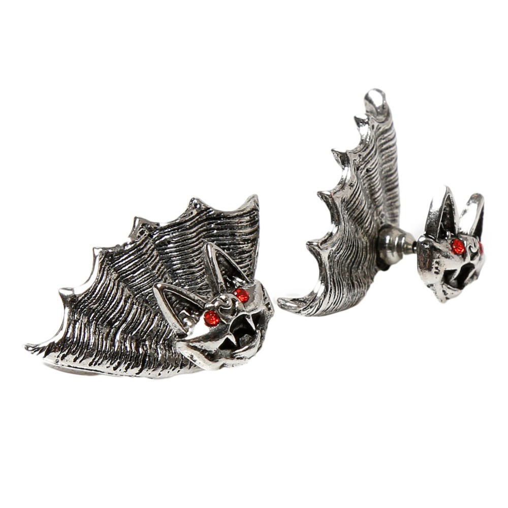 Nightclub Personality Punk Style Unisex Crystal Bat Shaped Earrings - Color Silver Plated Charming Jewelery EAR-0670