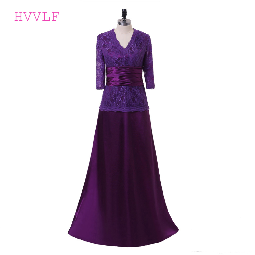 Purple 2019 Mother Of The Bride Dresses A-line V-neck 3/4 Sleeves Satin Lace Long Groom Mother Dresses For Weddings Plus Size