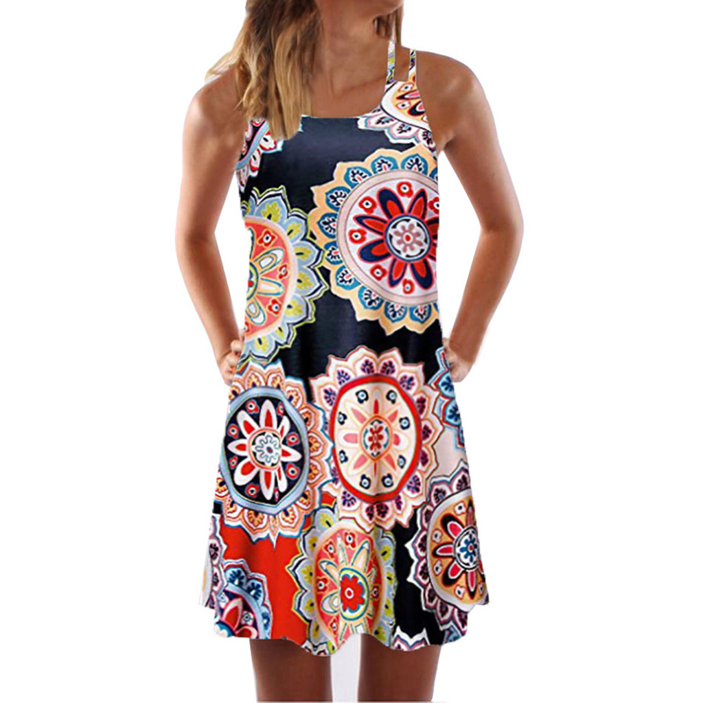 Vintage Boho Women Summer Sleeveless Spaghetti Straps Dress Beach Printed Short Mini Dress
