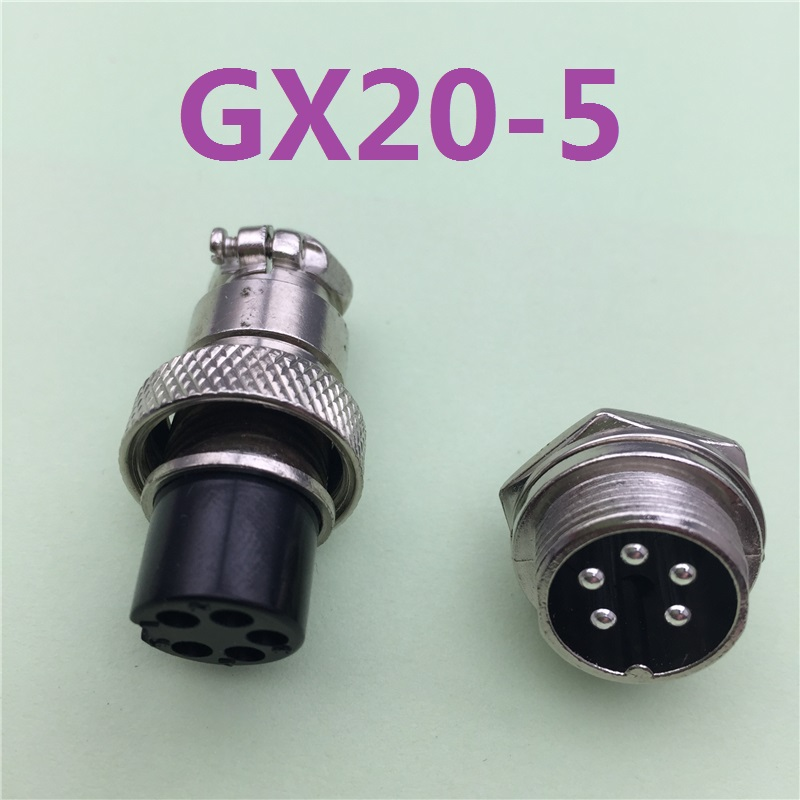 все цены на 1pcs GX20 5 Pin Male & Female 20mm Wire Panel Connector Aviation Plug L97 GX20 Circular Connector Socket Plug Free Shipping