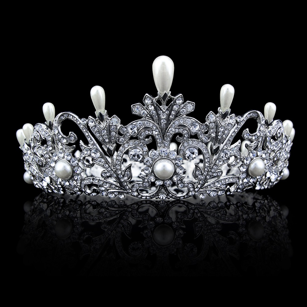 Popular Austrian Crystal Imitation Pearls Bridal Crown Tiara For Women Wedding Prom Pageant SHA8646 Free Shipping free shipping imitation pearls chain flatback resin material half pearls chain many styles to choose one roll per lot