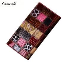 Cossroll New Lady Echtes Leder Brieftasche Frauen Große Kapazität Patchwork Lange Brieftaschen Damen Vintage Kartenhalter Weibliche Geldbörsen