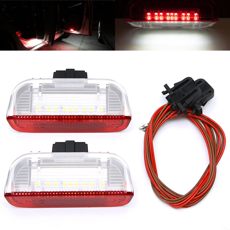 2Pcs Car LED Side Door Light Courtesy Lamp For VW Golf Jetta Passat B6 B7 GTI MK5 MK6 Tiguan Touareg CC Sharan Red + White Light 2pcs white under led side mirror puddle light lamp for vw golf gti mk6 6 mkvi 2010 2014