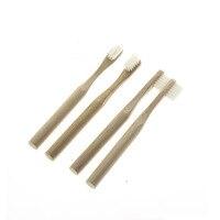 FDA Сертификация 4 шт./компл. круглая ручка натуральный бамбук эко-мягкой щетиной путешествия малыша детская зубная щетка