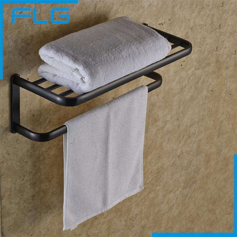 Bathroom Accessories Oil Rubbed Bronze Black Brief Fixed Bath Towel  Holder Towel Rack newly jade toothbrush holder rack oil rubbed bronze dual cup