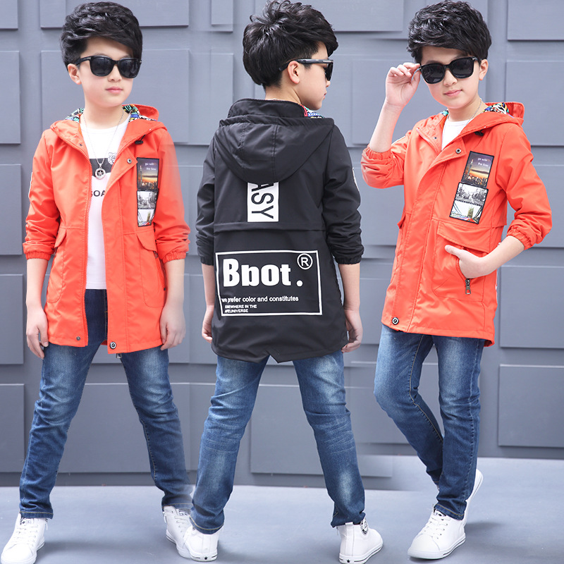 ФОТО Kids boys spring / autumn jacket 2017 new baby boys fashion clothing big virgin hooded coat 4/5/6/7/8/9/10/11/12/13/14