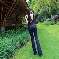 2018 новые летние и осенние модные повседневные пикантные узкие Высокая талия дорогой бренд женские джинсы для девочек комбинезоны 79150