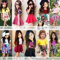 2015 princess girls clothing sets fashion flower girls t shirt+skirts kids clothing sets summer children clothes