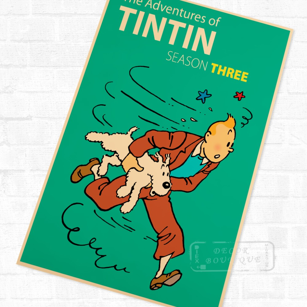 2 86 21 De Reduction Aventures De Tintin Bande Dessinee Vintage Retro Kraft Enduit Affiche Decorative Bricolage Mur Toile Autocollant Maison Bar Art