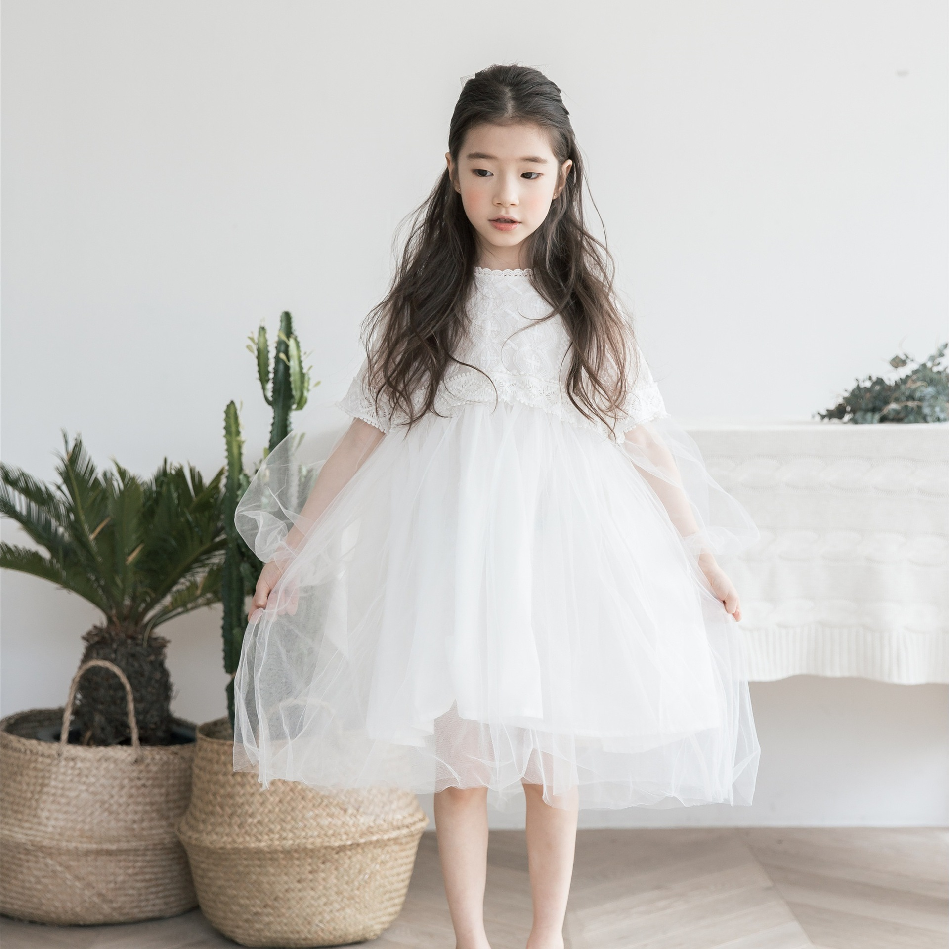 New Dresses For Girls Cute Lace Solid Long Lantern Sleeve Children Dress O-Neck Ball Grown Party Princess Kids Clothes CC856 5 16 y girls dress for autumn 2018 kids print mesh black red o neck party dresses girls cute princess dress long sleeve m510a