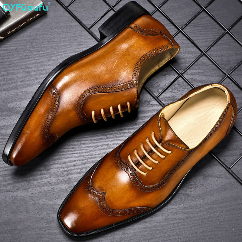 2019 Luxury Designer Classic Mens Brogue Shoes Pointed Toe Dress Genuine Leather Comfortable Oxford