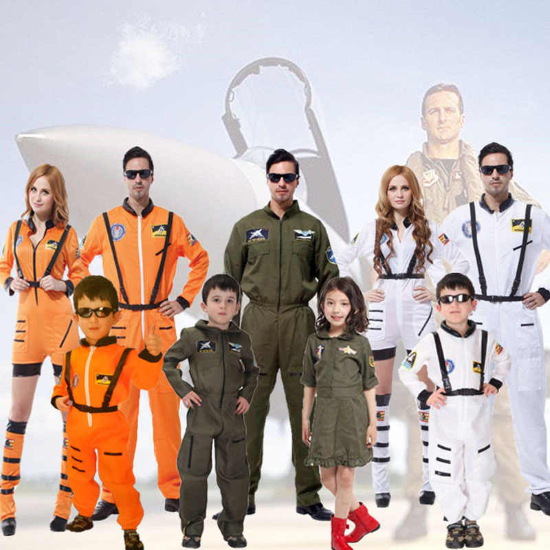 Halloween Party Astronaut Costumes For Adult Men Women Kid Girl Boy Orange White Space Flight Polit Jumpsuit Outfit