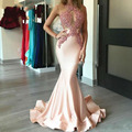 Honey Qiao Halter Mermaid Evening Dresses 2017 Satin Applique Lace Beading Sexy Formal Party Prom Gowns Pageant Robe De Soiree