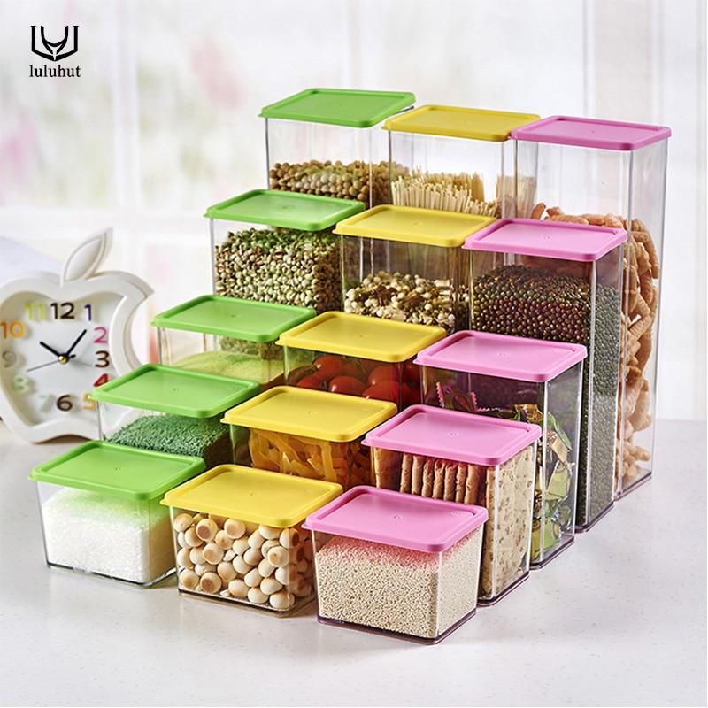 luluhut Kitchen transparent plastic storage box Whole grains beans storage jar sealed food container 3 size storage tank