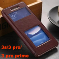 flip back coque cover case for xiaomi redmi 3 pro 3s s prime pu leather original luxury stand phone brand  window battery cases