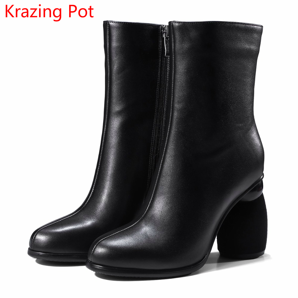 Handmade Genuine Leather Strange High Heels Keep Warm Winter Boots Round Toe Concise Zipper Superstar Fashion Mid-calf Boots L75 fashion genuine leather chelsea boots handmade keep warm winter boots round toe thick heels concise ankle boots for women l08