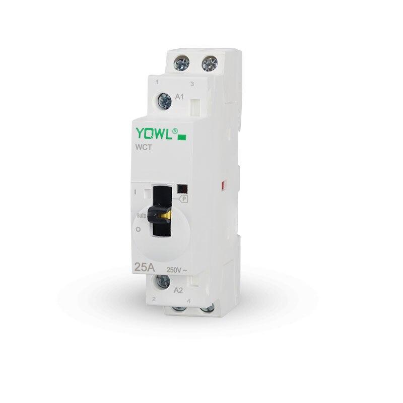 2 P 25A 2NO 2NC 1NO + 1NF 24 V/110 V/230 V 50/60 HZ Interrupteur manuel Din Rail Ménage AC Contacteur