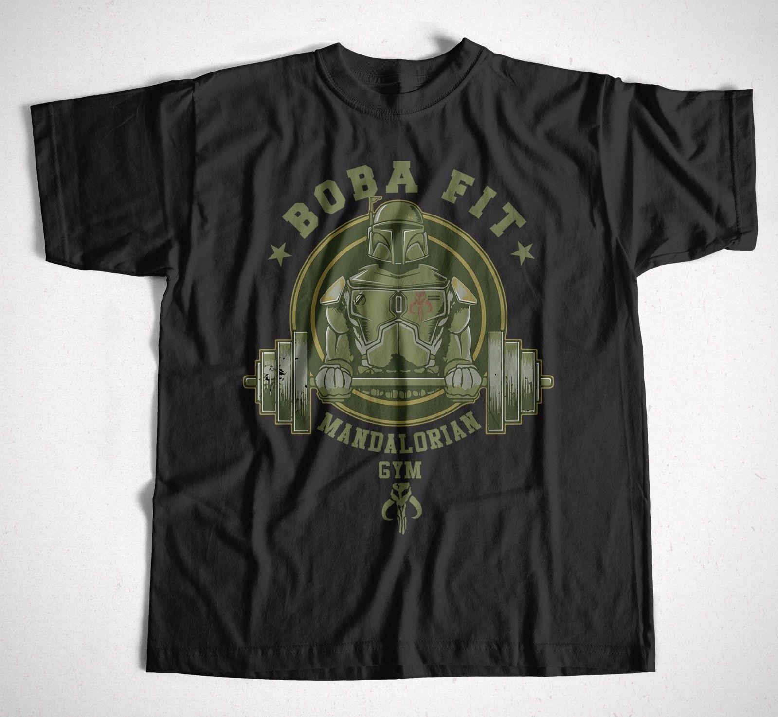 T-Shirt Boba Fit Fett Mandalorianer Schwarz Star Wars Spaß, Kult, Jedi, stormtrooper Druck T Männer Kurzarm Kleidung freies verschiffen