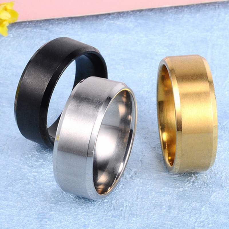 Metal Stainless Steel Wide Rings Sports Male Simple Men silver Jewelry Ring glod Summer Wholesale Business Titanium Boy Gift yongheng sl 01 men s 2 in 1 type rotatable titanium steel ring silver