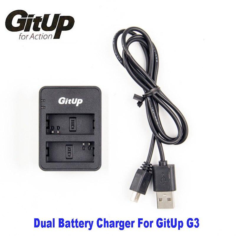 Cargador de batería de doble ranura Original para GitUp G3 Duo Git3 Cámara de Acción cargador de batería de respaldo para adaptador DV AC