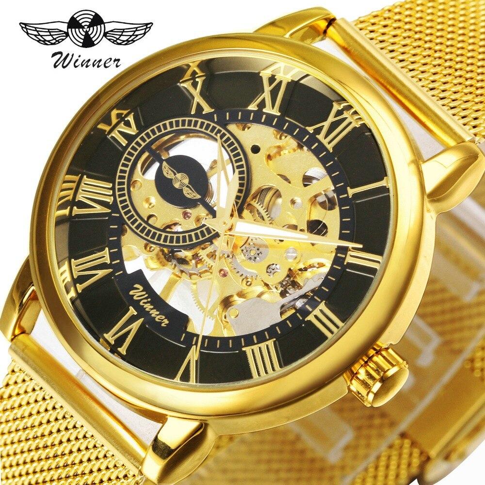 Gewinner Business Ultra Dünnen Goldenen Männer Mechanische Uhr Mesh Armband Skeleton Zifferblatt Luxus Stil Männliche Hand-wind Armbanduhr Herrenuhren Mechanische Uhren