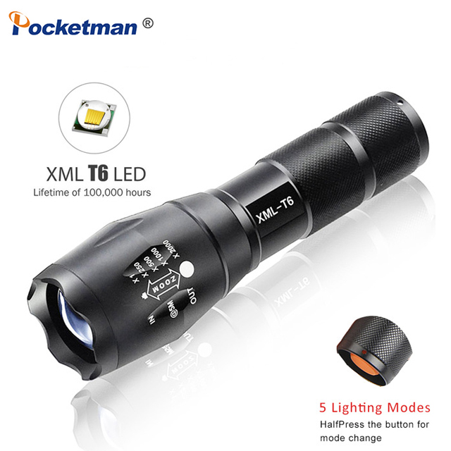Led Taschenlampe 7200LM 5-Mode Linterna XM-L T6 LED Flashlight Zoomable Focus Torche Zaklamp Hand Light By 18650 Or 3*AAA