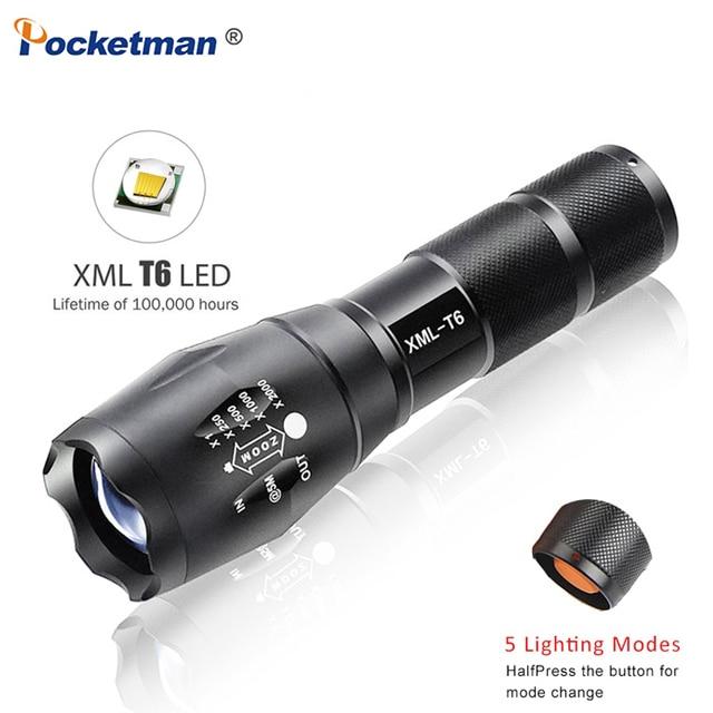 Светодиодная лампа Taschenlamp 18650 лм, 5-режимная Светодиодная лампа XM-L T6, фонарик с фокусировкой, фонарик zaklamp, светильник щение или 3 * AAA