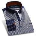 100% Outono Novos Homens Casual Camisas de Algodão Patchwork Collar Striped Polka Dot Moda Impresso Camisa Dos Homens Vestido de Manga Longa Suave