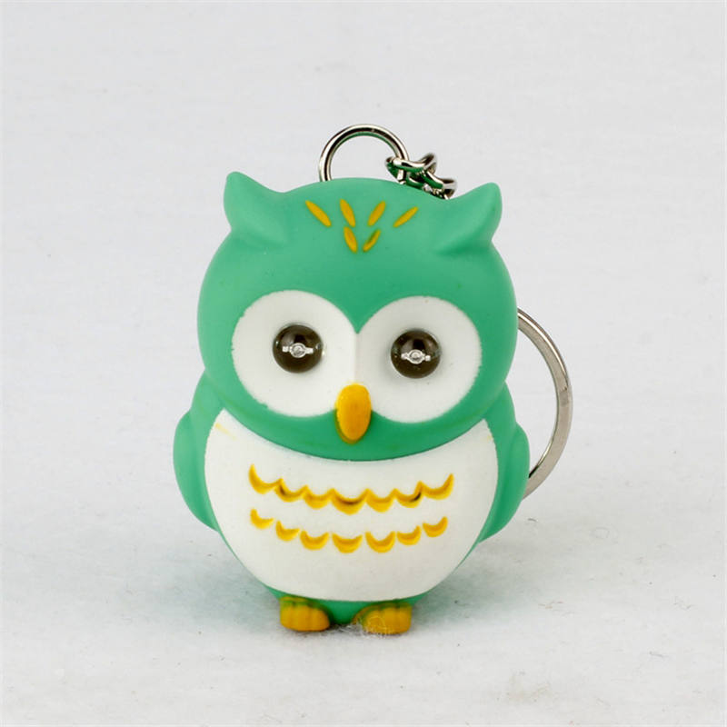Print LOGO cartoon night owl led keychains flashlight sound rings Creative kids gift toys cute cartoon