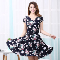 2015 Women Summer Dress New Fashion Plus Size Women Printed Waist Show Thin Casual Beach Maxi