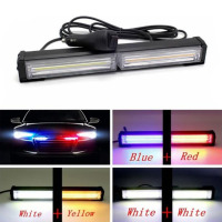 DC 12V Car LED Net Light COB Strobe Police Lights Red Blue Yellow White Long Rod Light Car Warning Fog Lights Car styling