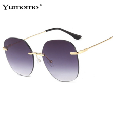 Yumomo Fashion Designer Sunglasses Women 2019 Oversize Red Pink Frameless Female Eyewear Shades Sun Glasses