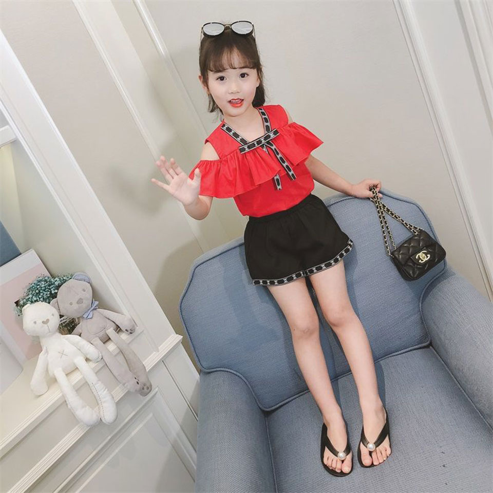 High Quality 2019 Fashion Cute Summer 2PCS Toddler Kids Baby Girl Clothes Tops +Black Color Shorts Girl Outfit Girls Cloth  girl